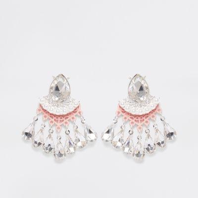 River Island Clous d'oreilles avec pendants à perles et pierres rose clair
