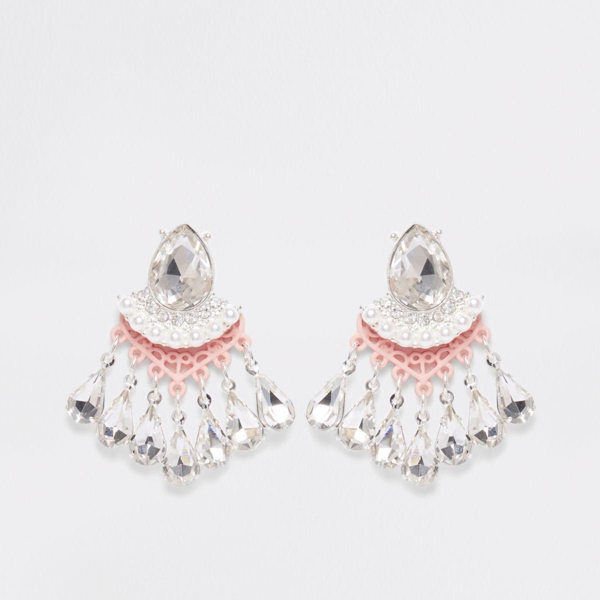Light pink stone pearl drop stud earrings
