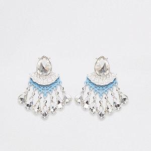 Light blue diamante stone stud earrings
