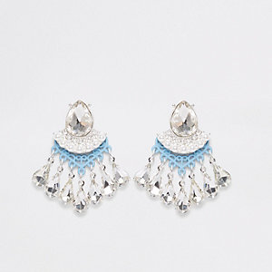 Light blue rhinestone stone stud earrings