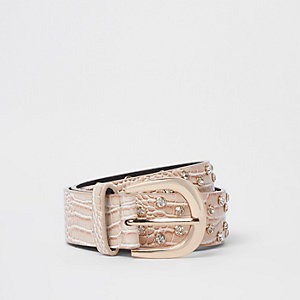 Nude croc diamante embellishment jeans belt