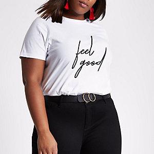 Plus white 'feel good' print t-shirt