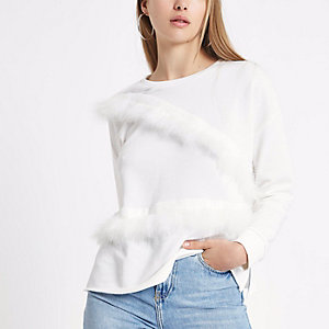 Cream feather trim sweatshirt
