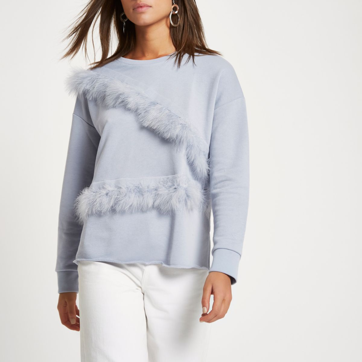 Grey feather trim sweatshirt