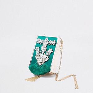 Grüne, kastige Tasche mit Schmucksteinverzierung