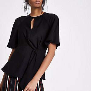 Black short sleeve tie front blouse