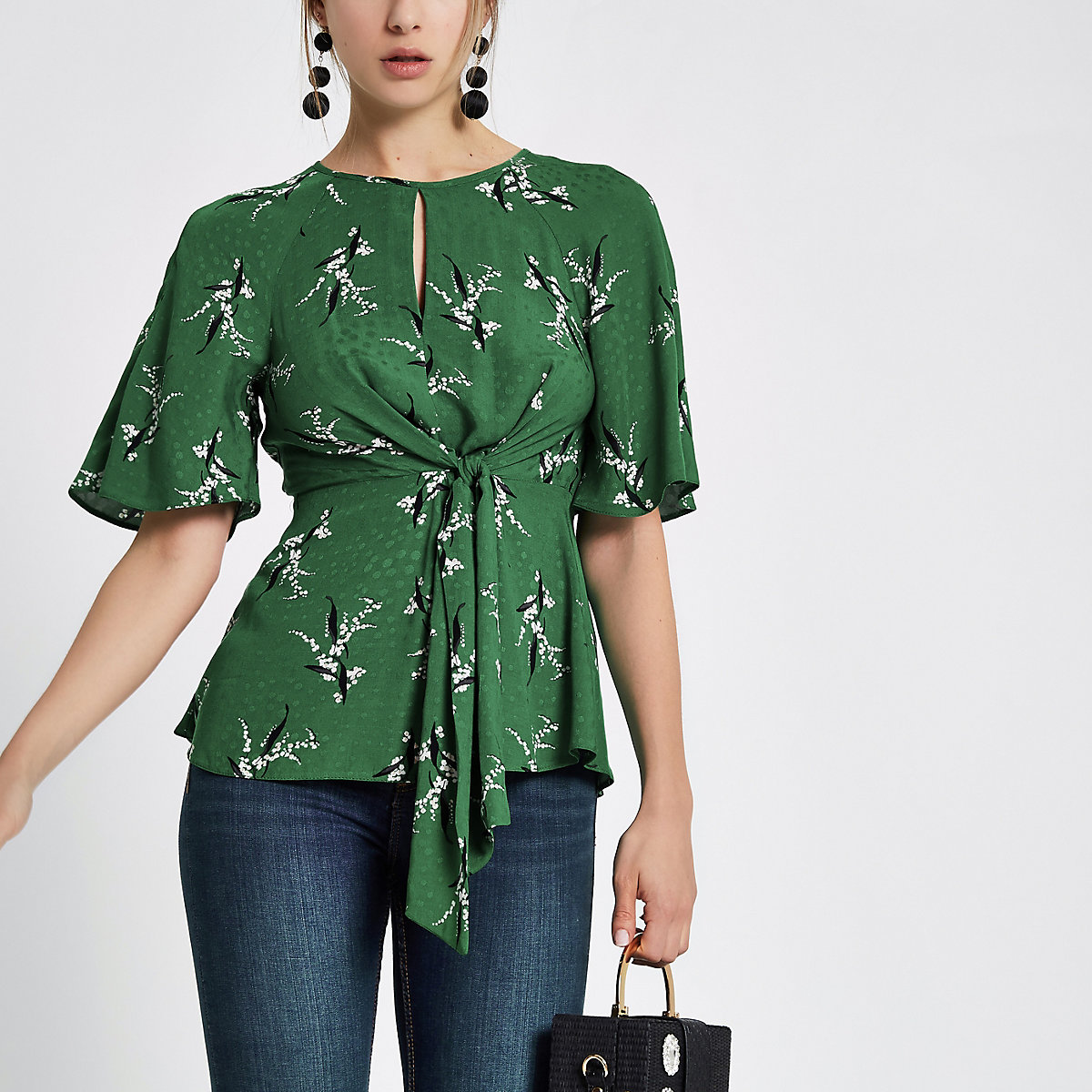 Green tie front short sleeve blouse