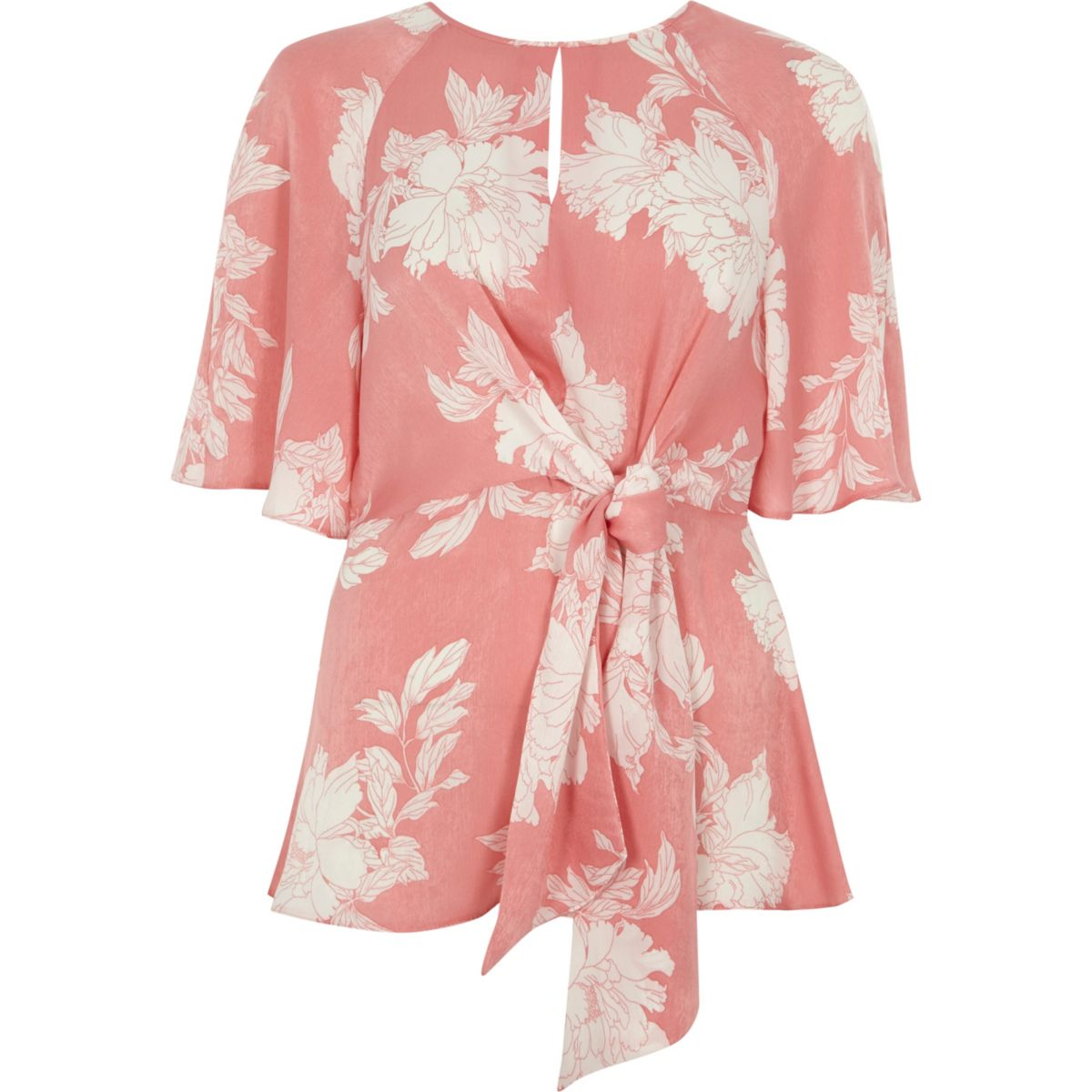 Pink floral print tie front frill hem blouse tops sale women pink floral print tie front frill hem blouse mightylinksfo