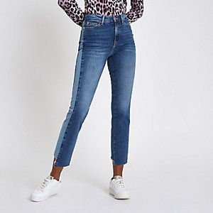 Mid blue Bella straight leg panel jeans