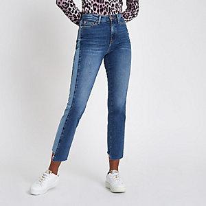 Bella - Middenblauwe jeans met rechte pijpen en paneel