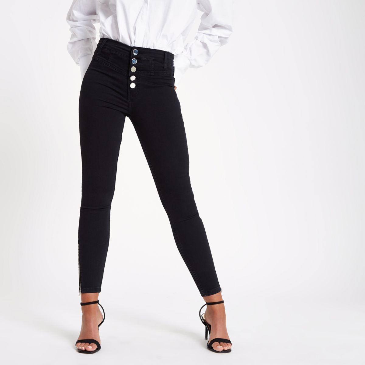 Harper - Zwarte superskinny jeans met hoge taille