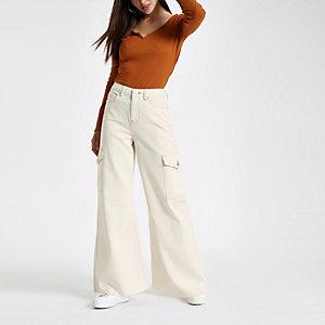 Ecru Mila wide leg jeans