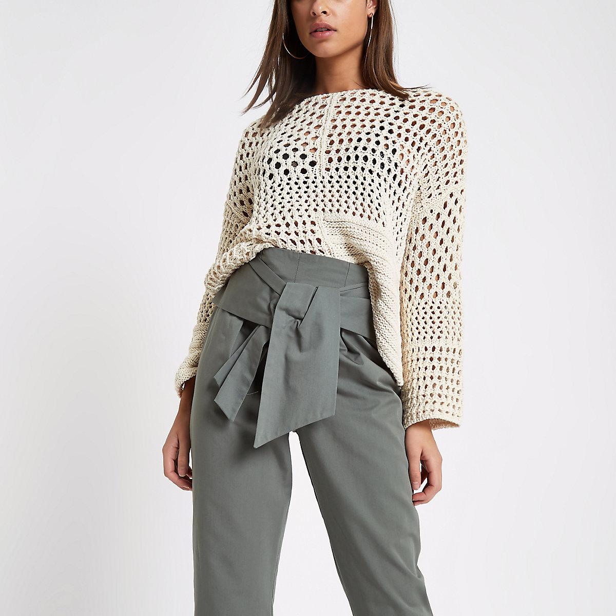 Cream crochet knit boxy jumper
