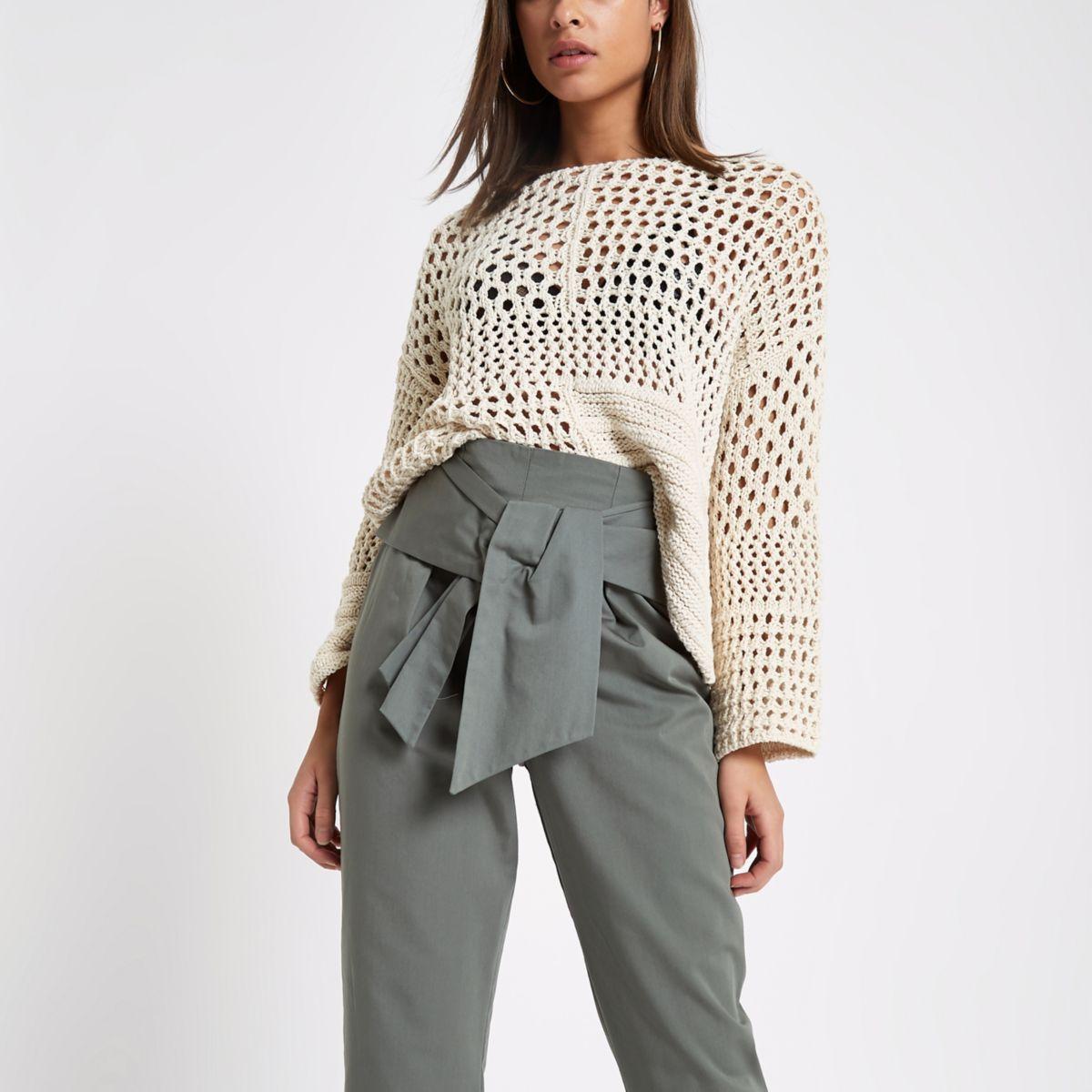 Cream crochet knit boxy sweater