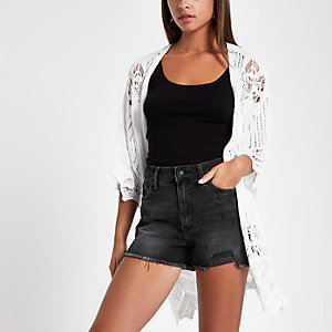 Black distressed high waisted shorts