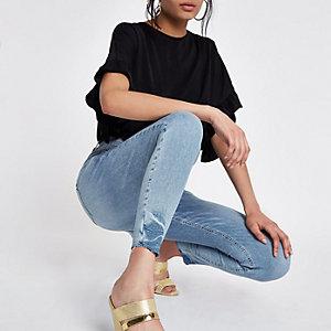 Harper - Blauwe superskinny jeans met hoge taille