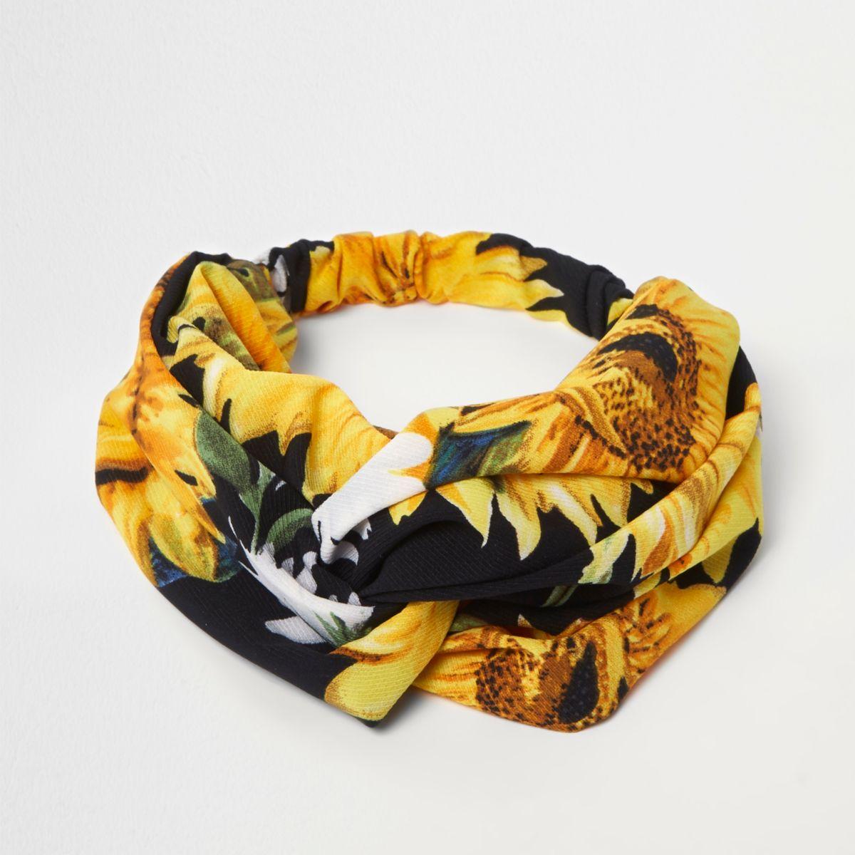 Yellow sunflower knot headband