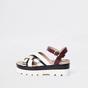 Sandales dorées épaisses en deux parties