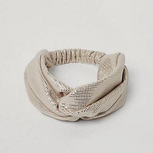 Gold metallic foil twist headband
