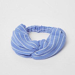 Serre-tête large rayé bleu torsadé
