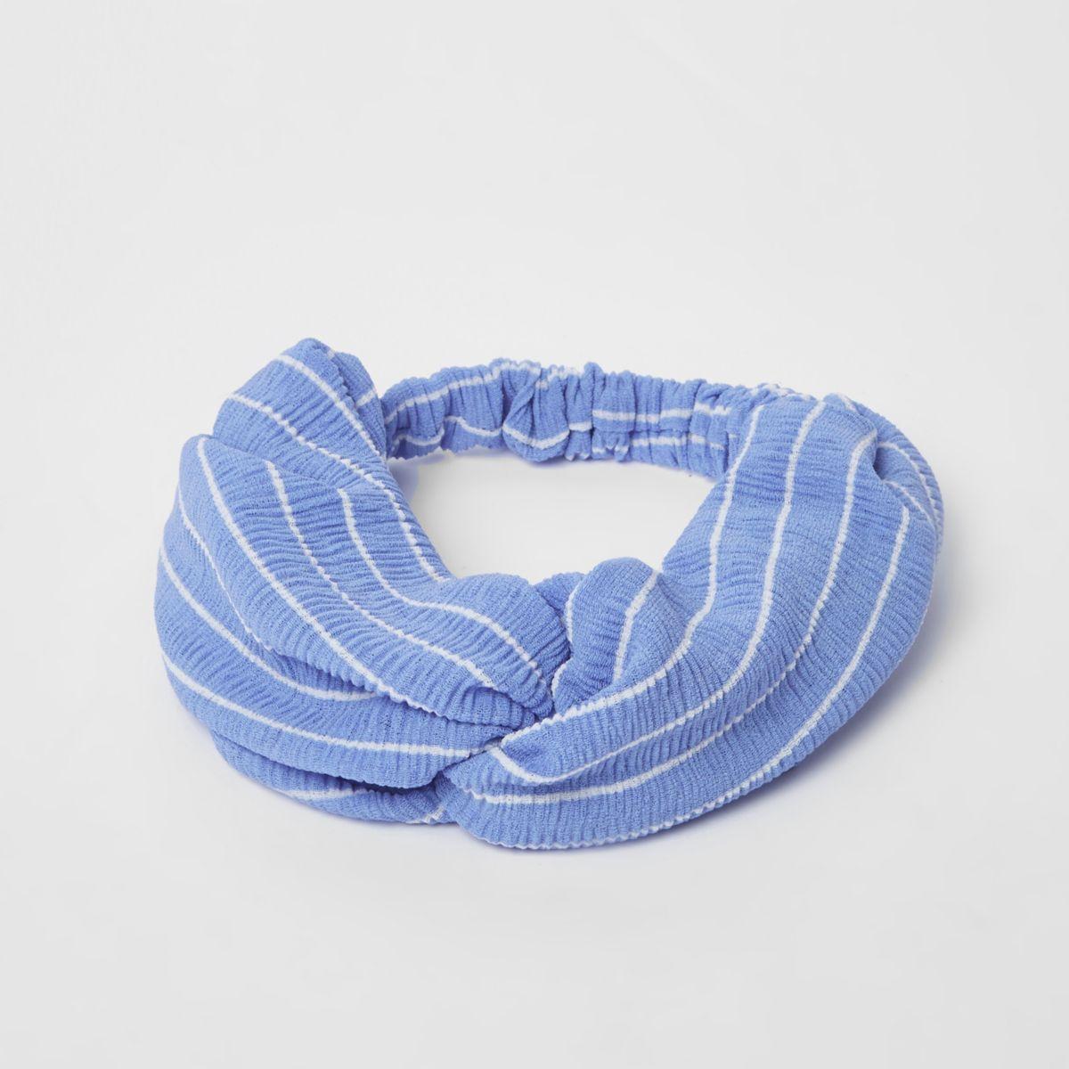 Blauwe gestreepte brede gedraaide haarband
