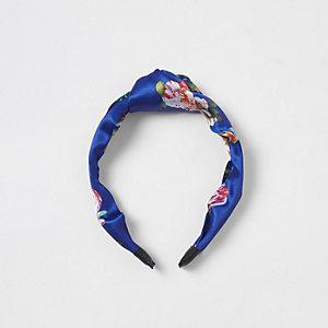 Blauwe hoofdband met knoop en bloemenprint