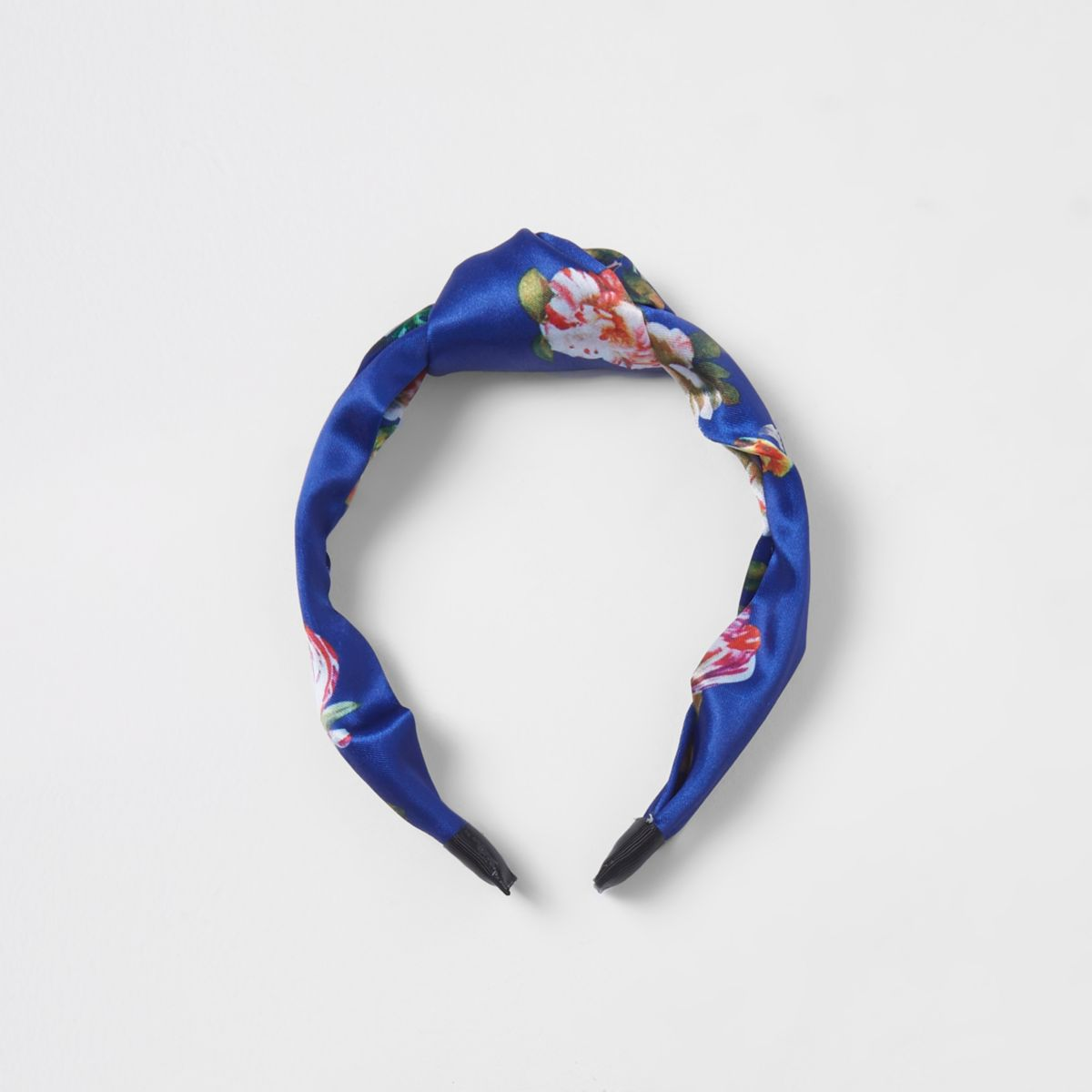Blue floral knot head band