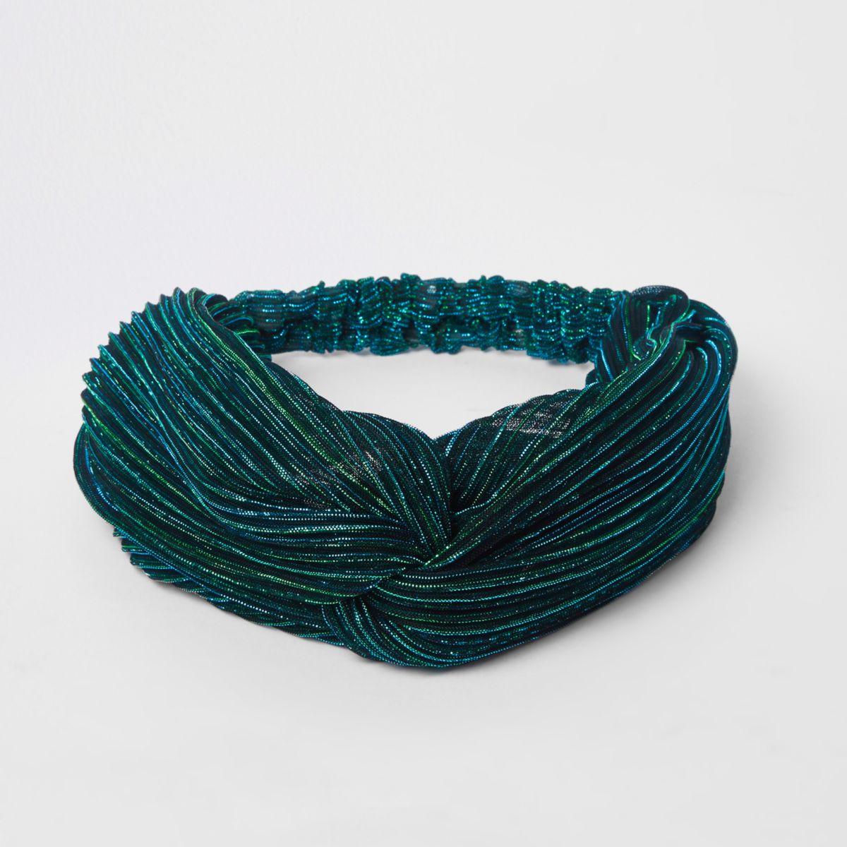 Green glitter twist headband