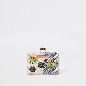 Mini porte-monnaie beige à fermoir clip orné de perles et strass