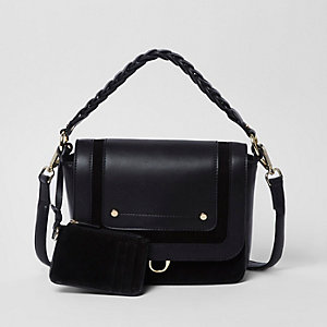 Black leather braided strap cross body bag