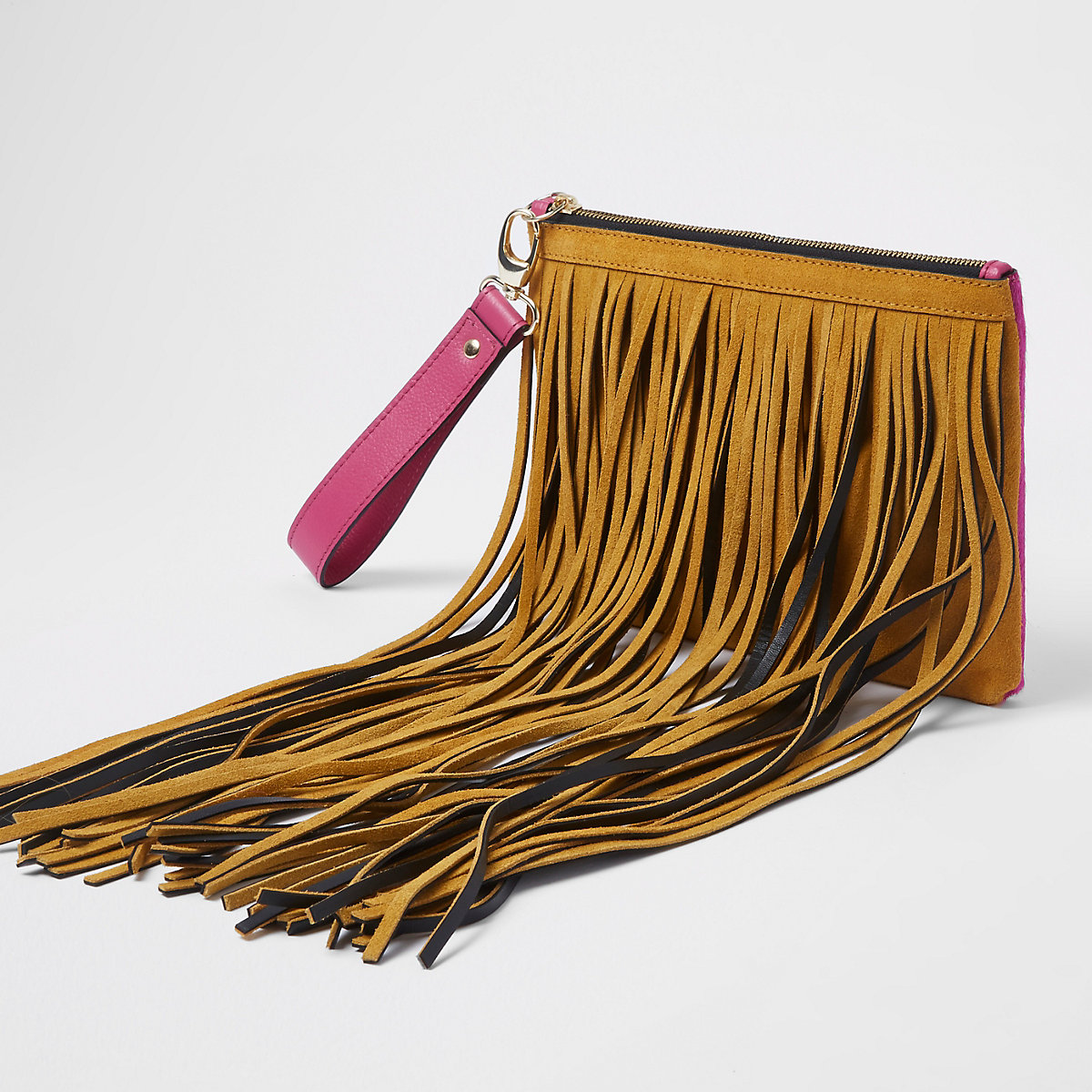 Tan and pink suede fringe clutch bag