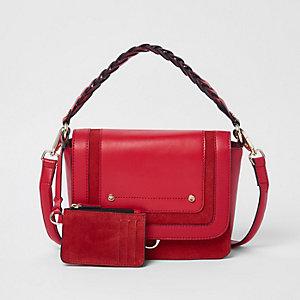 Rote Umhängetasche aus Leder
