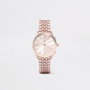 Rose gold tone chain link diamante watch