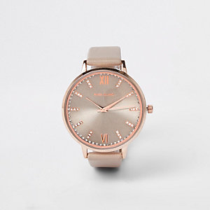 Grey rose gold tone rhinestone paved watch