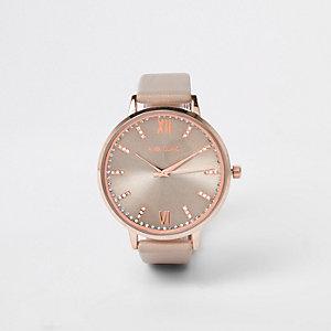 Grijs met roségoudkleurig horloge bezet met diamantjes