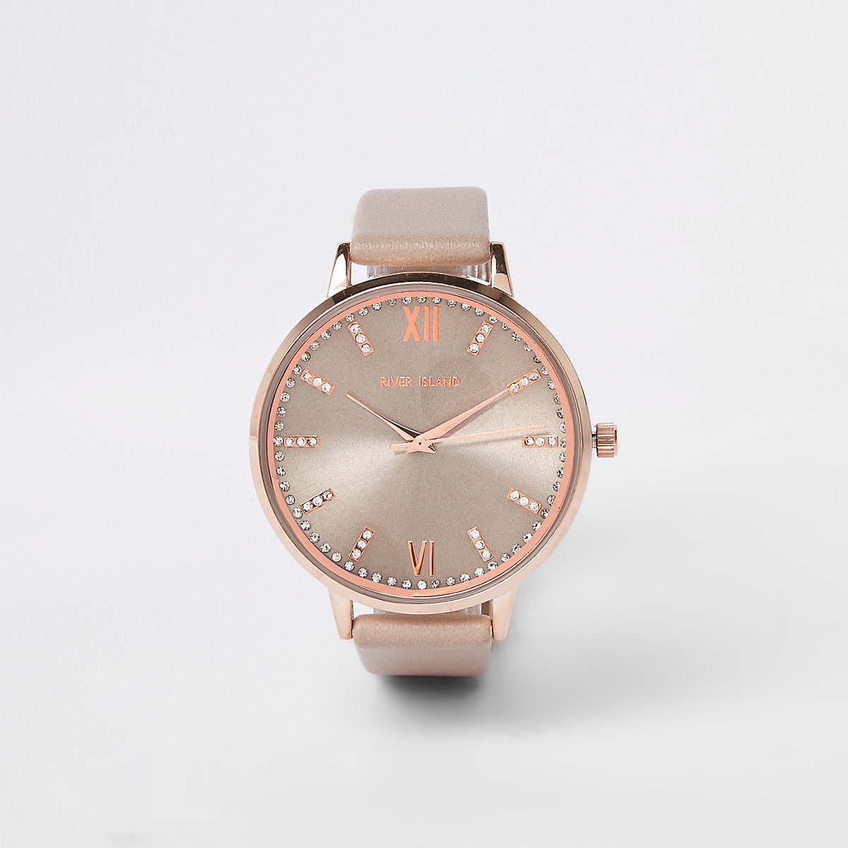 Grey rose gold tone diamante paved watch