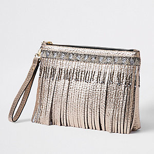 Clutch in Gold-Metallic aus Leder