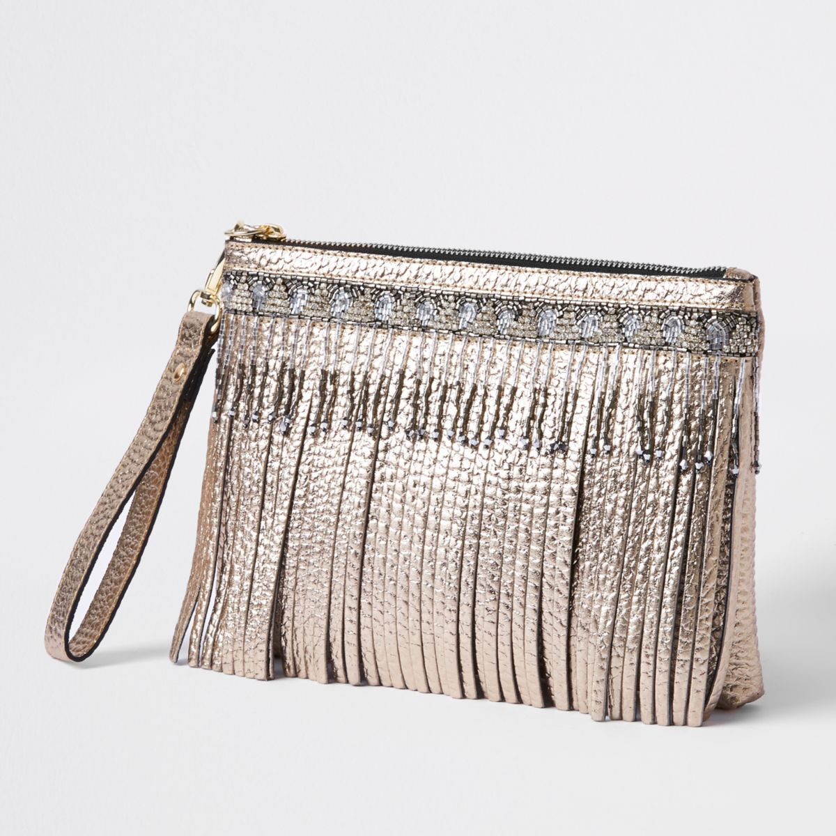 Gold metallic leather fringe clutch bag