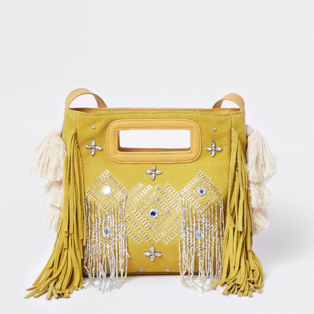 Yellow suede embellished cross body bag