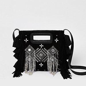 Black suede embellished cross body bag