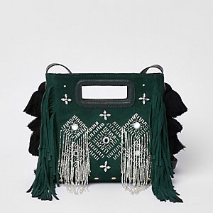 Green suede embellished cross body bag
