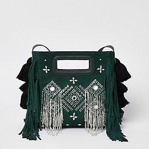 Green suede embellished cross body bag