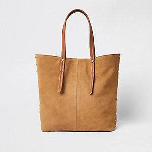 Beige suede leather handle shopper bag