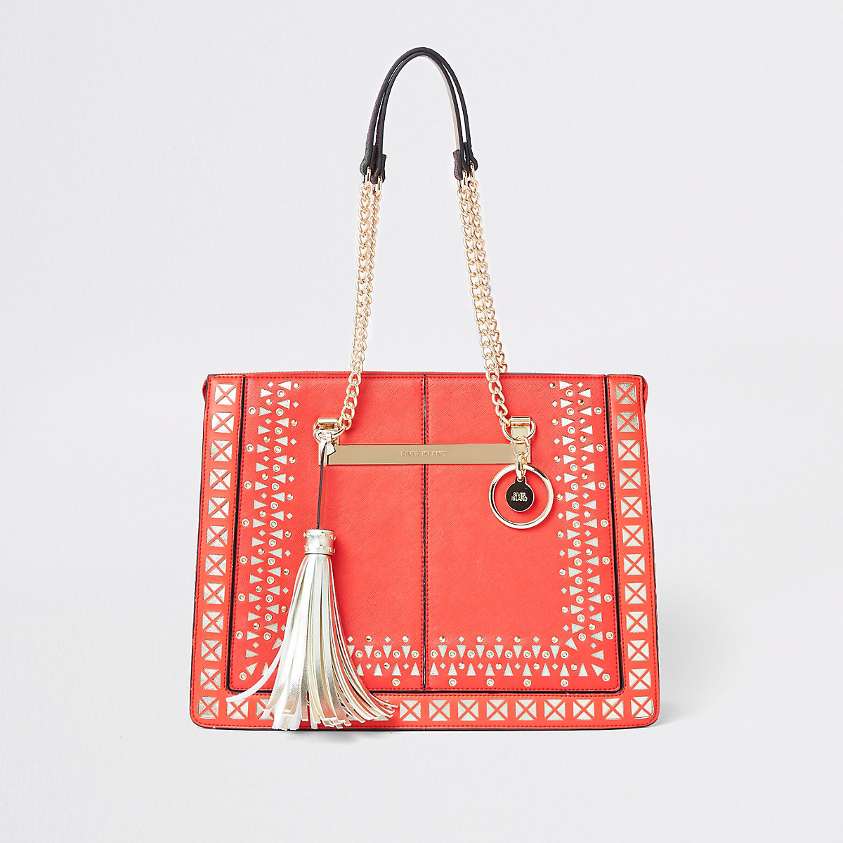 Red lasercut chain handle tote bag