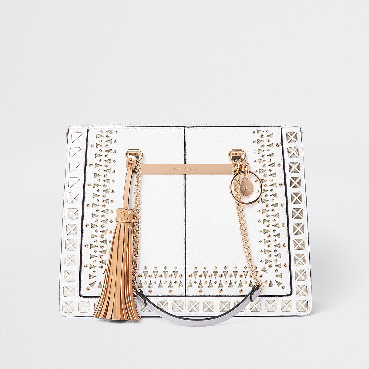 White lasercut chain handle tote bag