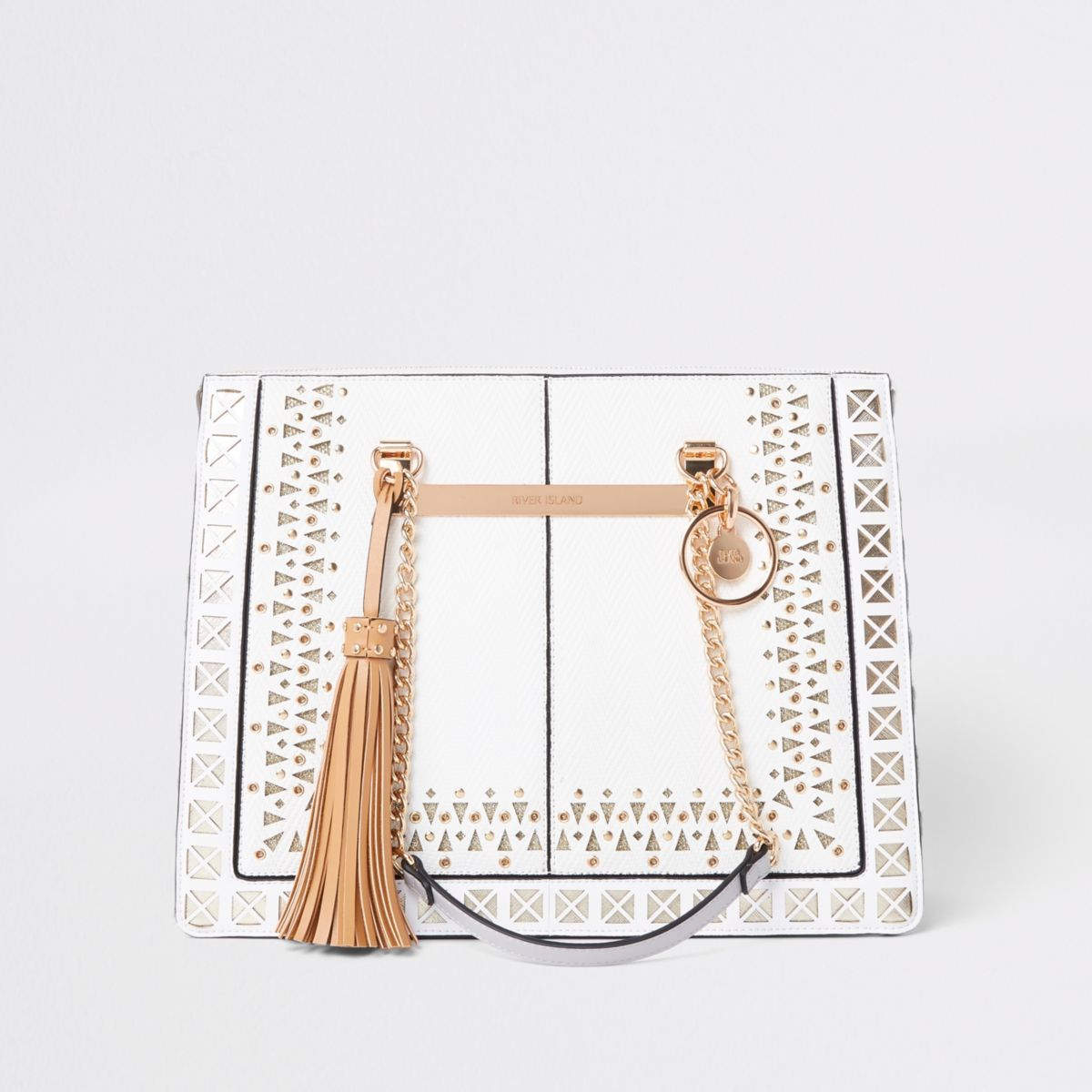 White lasercut chain handle tote bag