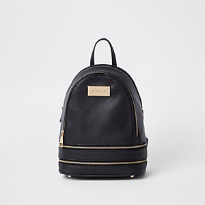 Black double zip bottom mini backpack