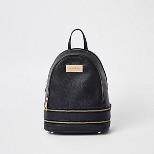 Mini sac à dos noir à double zip sur le bas