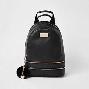 Black double zip bottom backpack
