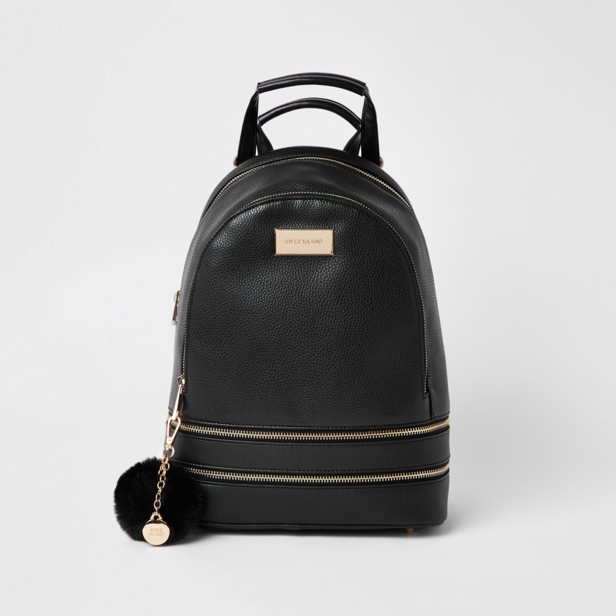 Black double zip bottom backpack